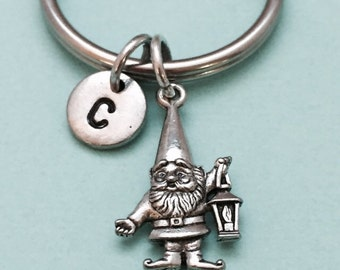 Gnome keychain, gnome charm, garden gnome keychain, personalized keychain, initial keychain, initial charm, monogram