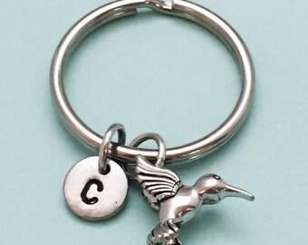 Hummingbird keychain, hummingbird charm, bird keychain, bird charm, personalized keychain, initial keychain, initial charm, monogram