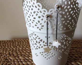 Falling star earrings. Handmade Shooting Mother of Pearl dangle earrings.