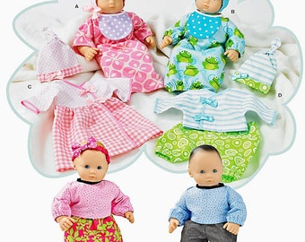 "15"" Baby doll clothes, Simplicity Pattern 1937, Bitty Baby, Twins, sleepsack, hat, bonnet, bib, booties, dress & top, pants, t shirt, UN-CUT"