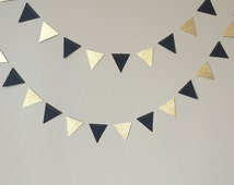 50th Birthday Decoration, Black and Gold Glitter Triangle Garland, Wedding, Birthday, Graduation, Paper Garland, Black and Gold Decor