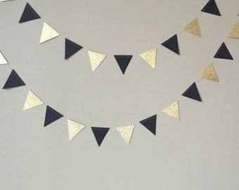 50th Birthday Party Decoration, Mini Black and Gold Glitter Triangle Garland,Wedding,Birthday,Graduation,Paper Garland, Black and Gold Decor