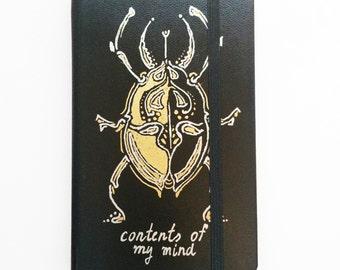 Custom Hardcover Sketchbook Design Black Pocket Size Small Plain Page Notebook, Journal, Tribal Beetle Artwork