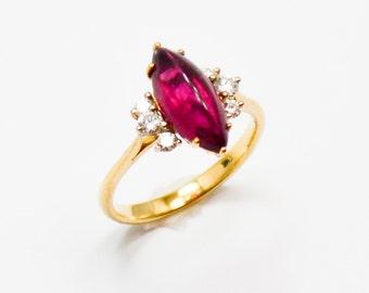 Vintage Cabochon Rubellite Tourmaline Diamond Ring