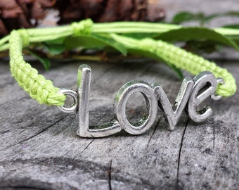 Hemp LOVE Bracelet - Made to Order - You Choose Color!