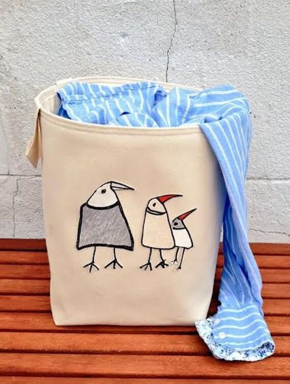 3 Birds Laundry Bag Large Tall Denim Hamper Bucket Bin Cotton