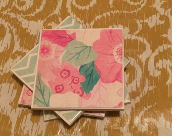 Mint and floral ceramic coasters