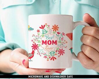 Coffee Mug Best Mom Ever Mug with Butterflies, Birds and Flowers