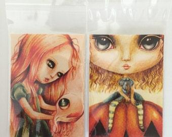 2 x Giclee fine art print's of my original paintings. ACEO size 2.5 x 3.5. lowbrow, pop-surrealism, fantasy, big eye art.