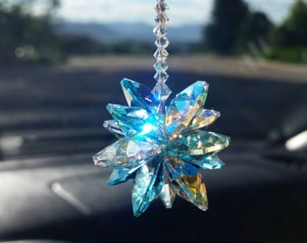 crystal car charm, crystal suncatcher, suncatcher for car, mirror decoration, rear view mirror charm, car decoration, car charm, sun catcher