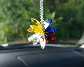 Swarovski crystal suncatcher,  suncatcher for car, Colorado gift, Colorado colors,  Colorado car charm, rainbow maker, Colorado theme gift