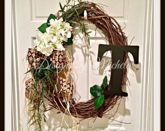 Vine Monogram Initial  Wreath, BR132