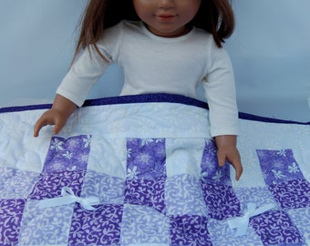 Purple patchwork doll quilt