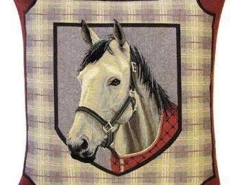 jacquard woven belgian tapestry cushion pillow white horsehead on tartan background