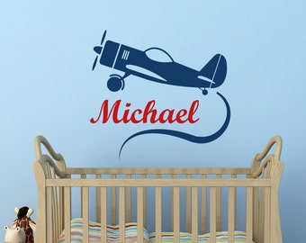 Airplane Wall Decal- Personalized Boy Name Decal Sticker Biplane Nursery Wall Decals Kids Baby Boys Room Bedroom Wall Art Home Decor M059