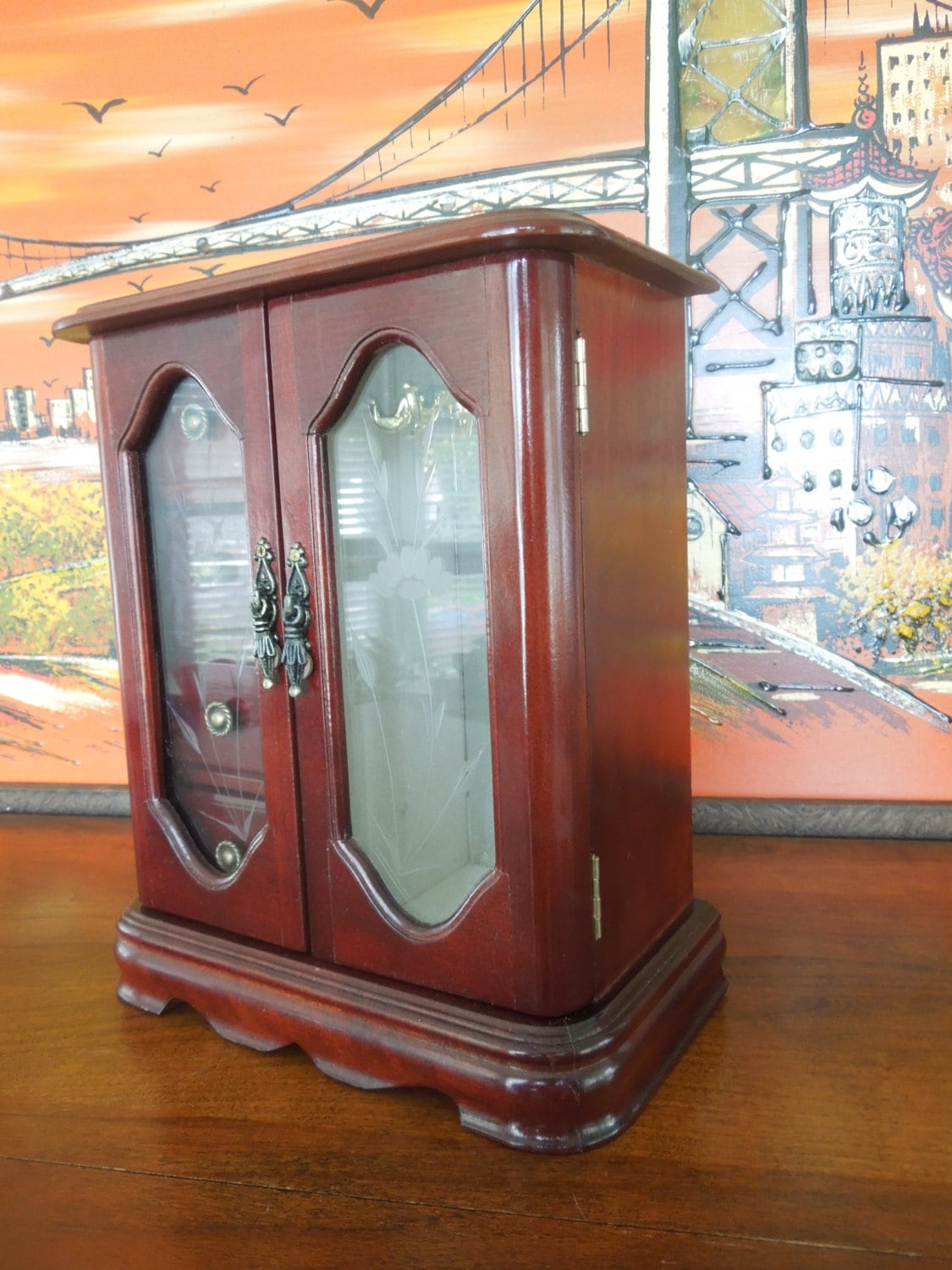 1500 #B86313 Vintage Wooden Jewelry Box With Double Doors And Etched Glass wallpaper Etched Glass Front Doors 39351125