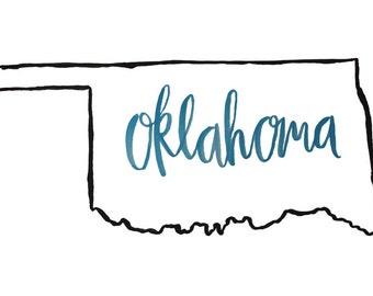 Black Outline Oklahoma Print