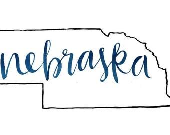 Black Outline Nebraska Print