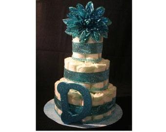 Fancy Schmancy Blue Baroque Diaper Cake