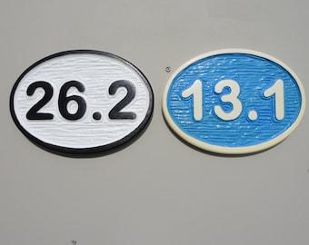 13.1 (half marathon) & 26.2 (marathon) - carved custom sign - positive carving