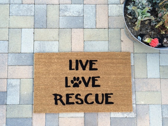 Rescue Dog / Cat welcome mat. This hand painted doormat shows that you support animal rescue efforts! 5.00 donation for each sale!