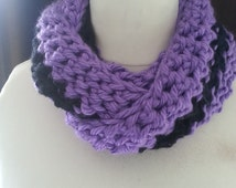 Purple and Black Crochet Knitted Infinity Scarf Wrap, Unisex