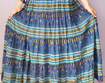 Printed Etnic Tiered Cotton Long skirt bohemain Style, Hiphop Gypsy Skirt