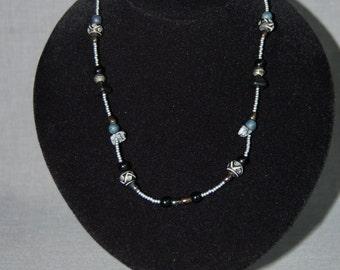 Aztec Coal beaded necklace ~ Handmade Vintage