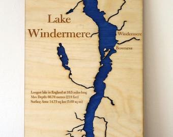Lake Windermere Lake Map Wall Map