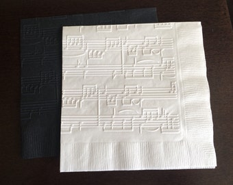 Embossed Music Napkins - Cocktail Napkin, Wedding Decor, Bachelorette Party, Bridal Shower, Symphony, Music Notes, Musical, Piano, Classical