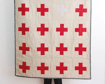 Handmade Red Cross Quilt