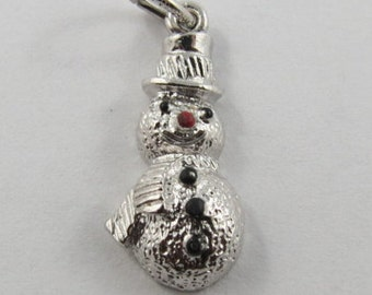 Snowman With Enamel Sterling Silver Vintage Charm For Bracelet