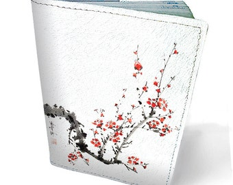 Leather passport cover - Passport holder - Genuine leather case - Handmade passport cover - Original gift - Bright design - Sacura - #039