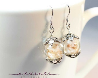 Sterling Silver Plated White and Gold Murano Glass Earrings