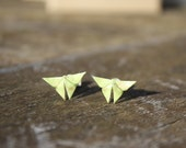 Green origami butterfly studs with sterling silver backs, origami earrings, green studs, origami jewellery