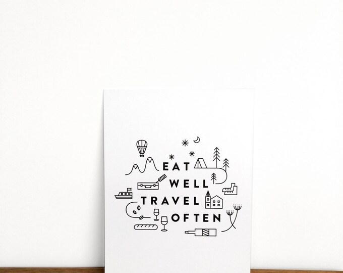 "Eat Well Travel Often Print | 6"" x 8"" | Typography, Art Print, Digital Print | Home Wall Decor"