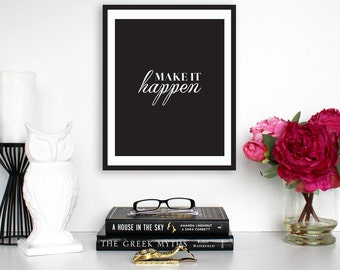 "Typography print ""Make It Happen"" Typography Poster Motivational Print Motivational Wall Decor"