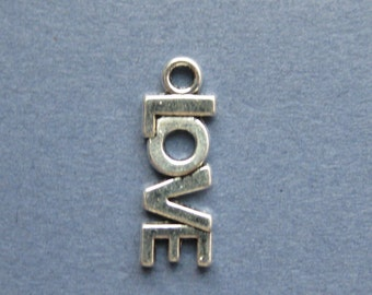 10 Love Charms - Love Pendants - Love - Word Charms - Antique Silver - 21mm x 8mm  --(P6-10096)