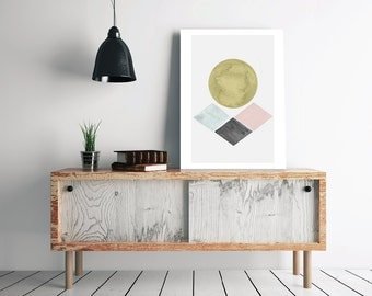Abstract Watercolor Art Geometric Circle Rhombus - Texture Scandinavian Decor Pastel Wall Art - Modern Minimalist Poster - Instant Download
