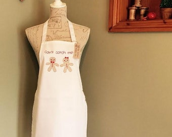 """Children's Apron embroidered Christmas Gingerbread """"Can't Catch Me"""" Apron Unisex Children's Christmas Gift"""