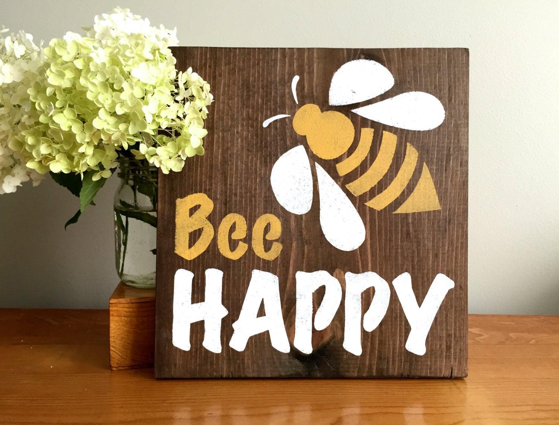bee happy wood wall decor bee sign bee decor nursery zoom