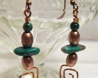 Real turquoise and copper wirework dangle earrings