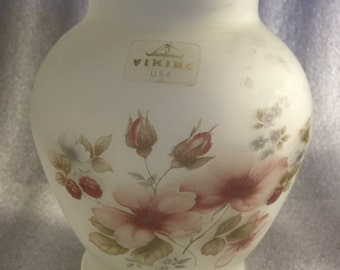 Vintage Viking USA Frosted Glass Handpainted Vase