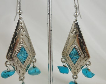 Turquoise Nuggets Silver Dangle Earrings