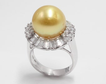 Golden South Sea Pearl and Diamond Halo Ring