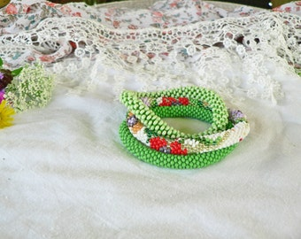Field flowers Beaded crocheted Roll on Bracelet / Handmade/ Set of 3/ Red white green orange purple/ Nepal roll on bracelet/ Coupon codes