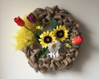 Flowers and White Picket Fence Summer Wreath
