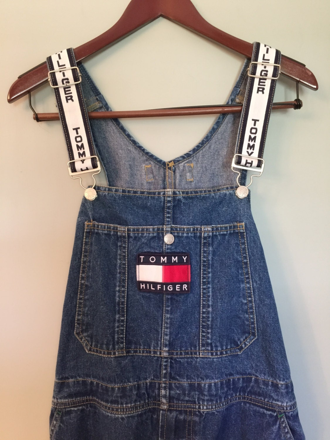 vintage 90 39 s tommy hilfiger denim carpenter overalls white. Black Bedroom Furniture Sets. Home Design Ideas