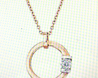 "Roberto Coin ""Cento"" .21 Carat Diamond Circle Necklace in 18kt Rose Gold. 16"""