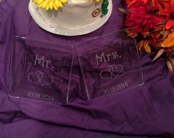 Personalized Mr. & Mrs. dessert plates for your wedding.